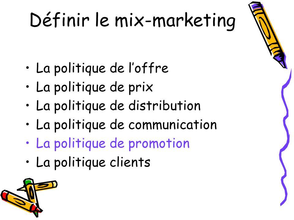 Définir le mix-marketing La politique de loffre La politique de prix La politique de distribution La politique de communication La politique de promotion La politique clients