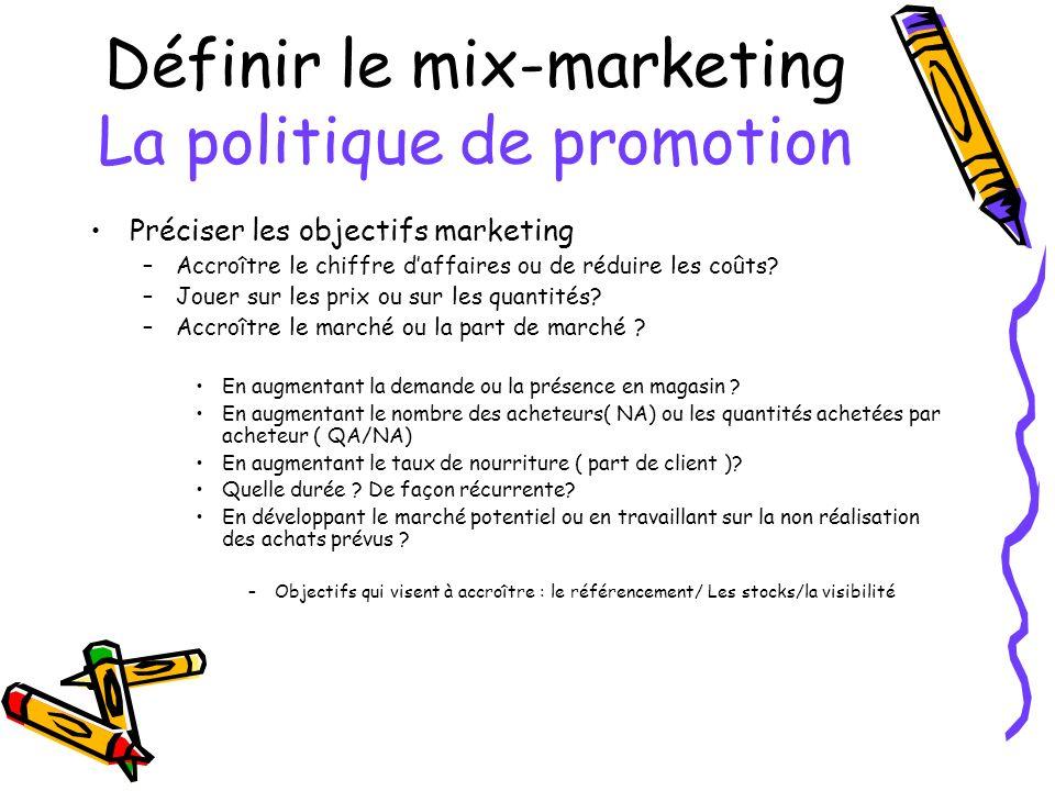 Définir le mix-marketing La politique de promotion Préciser les objectifs marketing –Accroître le chiffre daffaires ou de réduire les coûts? –Jouer su