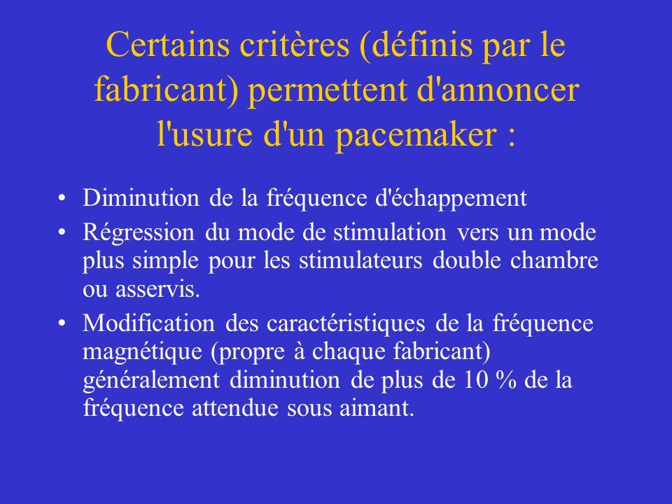 Certains critères (définis par le fabricant) permettent d'annoncer l'usure d'un pacemaker : Diminution de la fréquence d'échappement Régression du mod