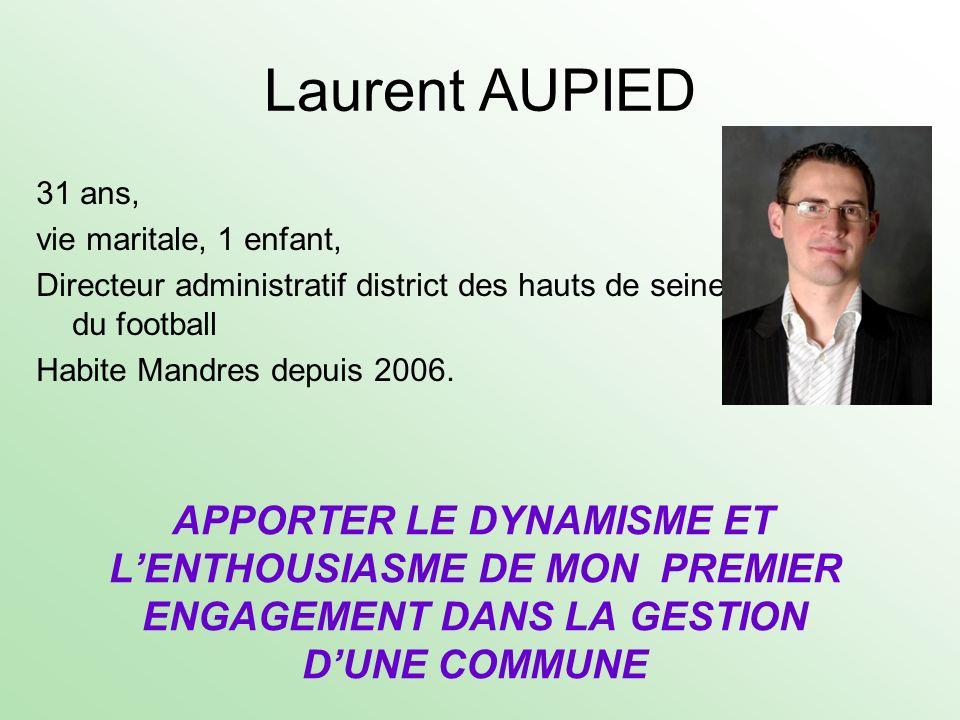 31 ans, vie maritale, 1 enfant, Directeur administratif district des hauts de seine du football Habite Mandres depuis 2006. APPORTER LE DYNAMISME ET L