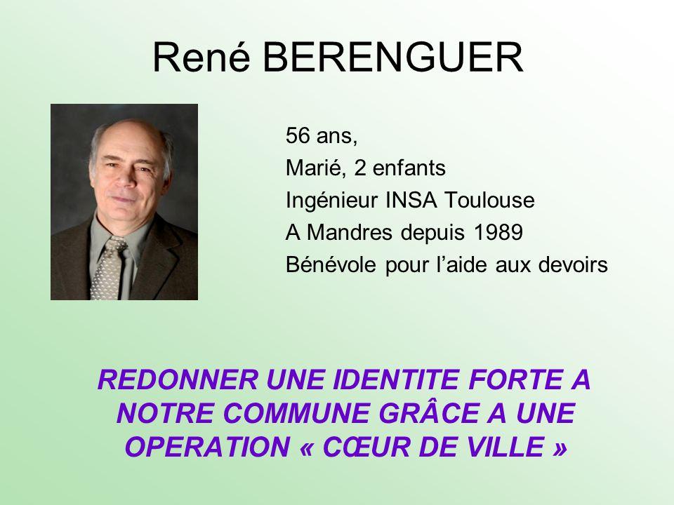 René BERENGUER 56 ans, Marié, 2 enfants Ingénieur INSA Toulouse A Mandres depuis 1989 Bénévole pour laide aux devoirs REDONNER UNE IDENTITE FORTE A NO