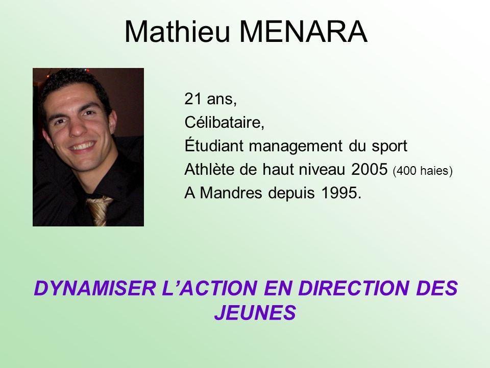 Mathieu MENARA 21 ans, Célibataire, Étudiant management du sport Athlète de haut niveau 2005 (400 haies) A Mandres depuis 1995. DYNAMISER LACTION EN D