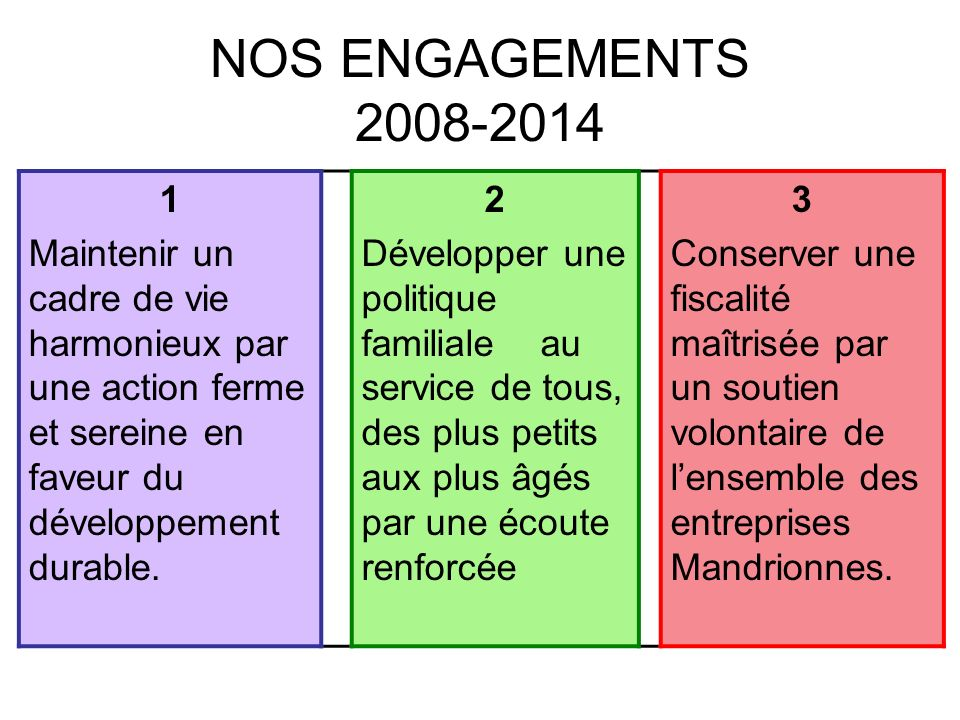 NOS ENGAGEMENTS 2008-2014 1 Maintenir un cadre de vie harmonieux par une action ferme et sereine en faveur du développement durable. 2 Développer une