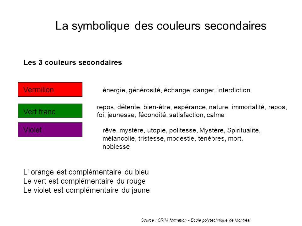 La symbolique des couleurs secondaires Les 3 couleurs secondaires Vermillon énergie, générosité, échange, danger, interdiction.