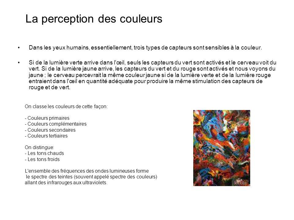La perception des couleurs Dans les yeux humains, essentiellement, trois types de capteurs sont sensibles à la couleur.