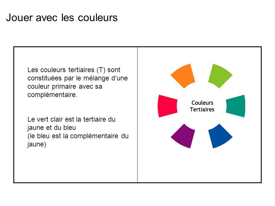Jouer avec les couleurs Les couleurs tertiaires (T) sont constituées par le mélange dune couleur primaire avec sa complémentaire.
