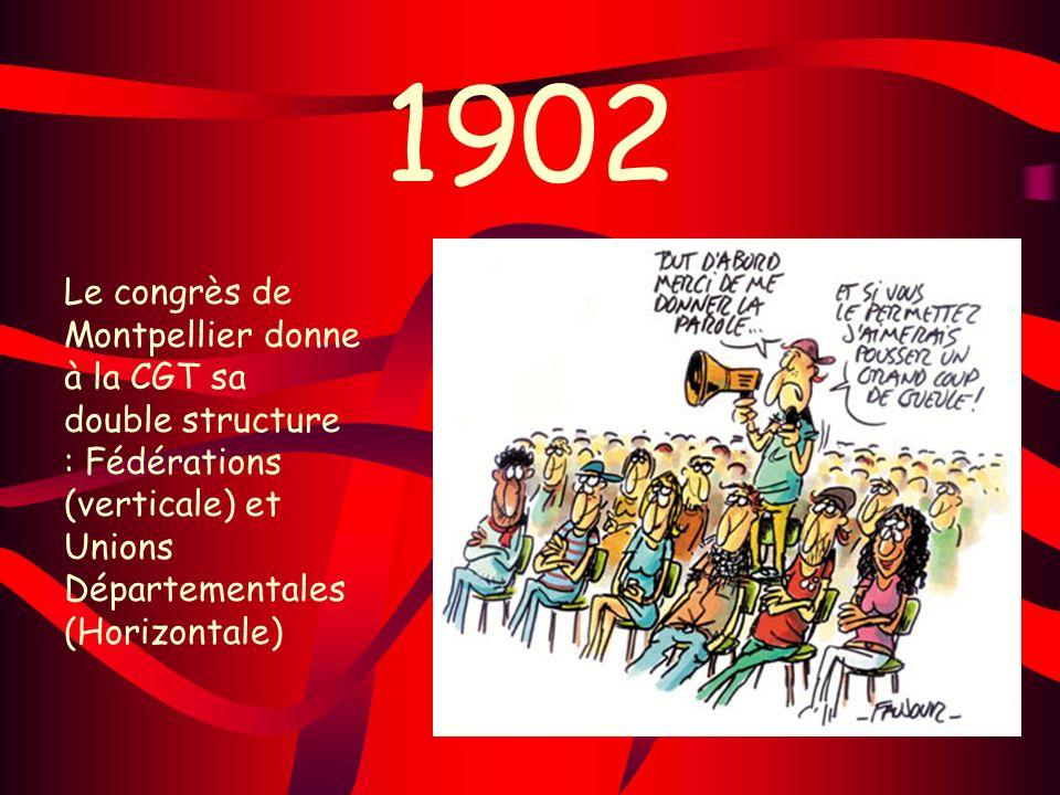 1902 Le congrès de Montpellier donne à la CGT sa double structure : Fédérations (verticale) et Unions Départementales (Horizontale)