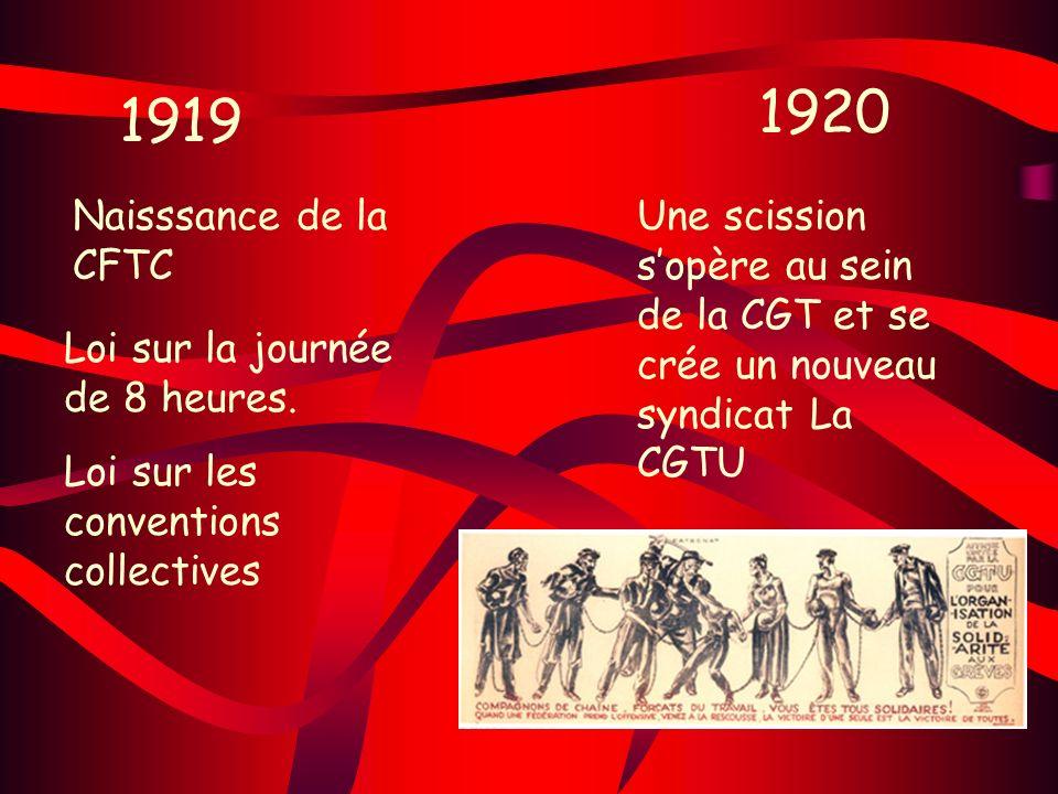 1919 1920 Loi sur la journée de 8 heures. Loi sur les conventions collectives Naisssance de la CFTC Une scission sopère au sein de la CGT et se crée u