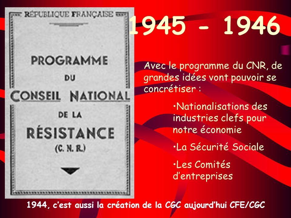 Avec le programme du CNR, de grandes idées vont pouvoir se concrétiser : Nationalisations des industries clefs pour notre économie La Sécurité Sociale