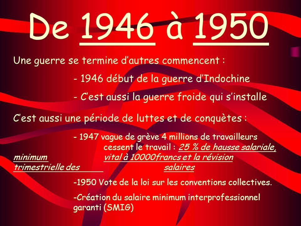De 1946 à 1950 Une guerre se termine dautres commencent : - 1946 début de la guerre dIndochine - Cest aussi la guerre froide qui sinstalle Cest aussi