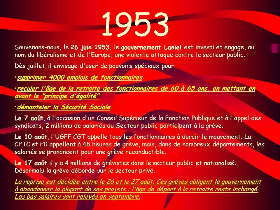 1953 Souvenons-nous, le 26 juin 1953, le gouvernement Laniel est investi et engage, au nom du libéralisme et de l'Europe, une violente attaque contre