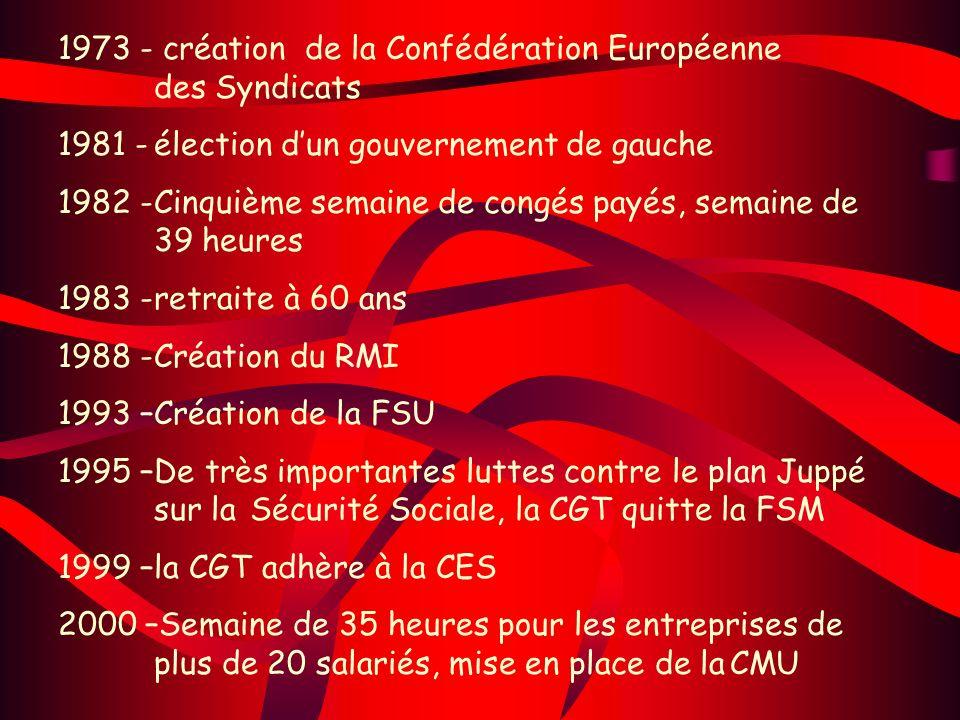 1973 - création de la Confédération Européenne des Syndicats 1981 -élection dun gouvernement de gauche 1982 -Cinquième semaine de congés payés, semain