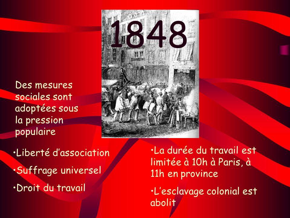 1848 Des mesures sociales sont adoptées sous la pression populaire Liberté dassociation Suffrage universel Droit du travail La durée du travail est li