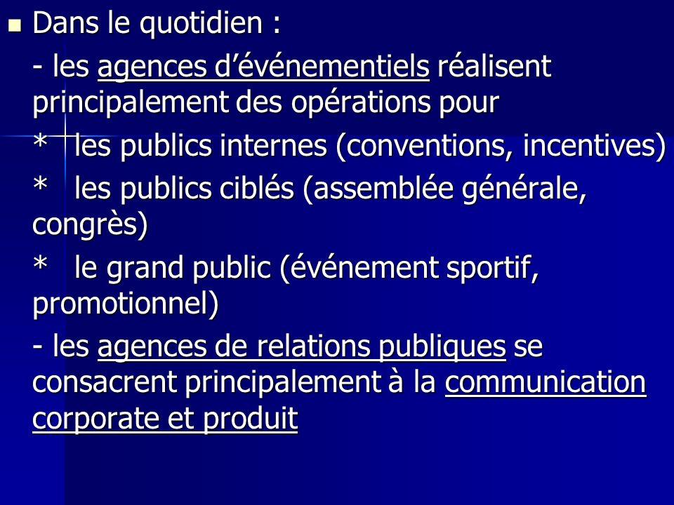 Dans le quotidien : Dans le quotidien : - les agences dévénementiels réalisent principalement des opérations pour *les publics internes (conventions,