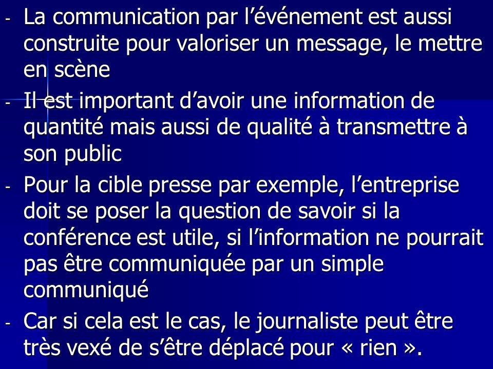 - La communication par lévénement est aussi construite pour valoriser un message, le mettre en scène - Il est important davoir une information de quan