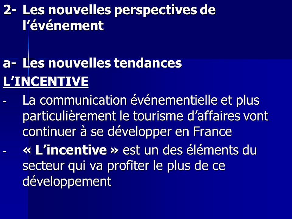 2-Les nouvelles perspectives de lévénement a-Les nouvelles tendances LINCENTIVE - La communication événementielle et plus particulièrement le tourisme
