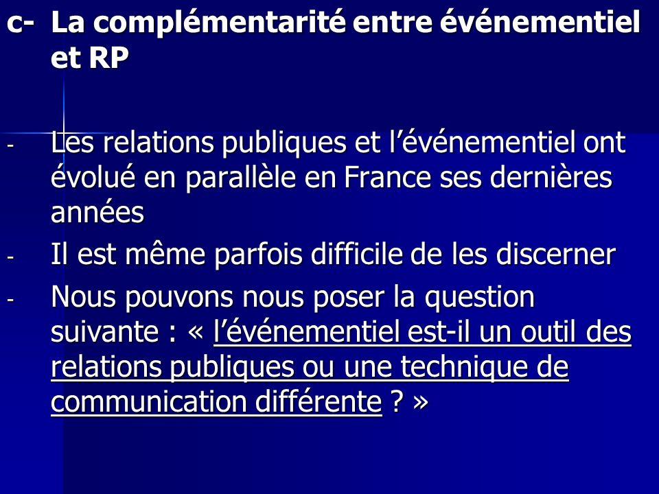 c-La complémentarité entre événementiel et RP - Les relations publiques et lévénementiel ont évolué en parallèle en France ses dernières années - Il e