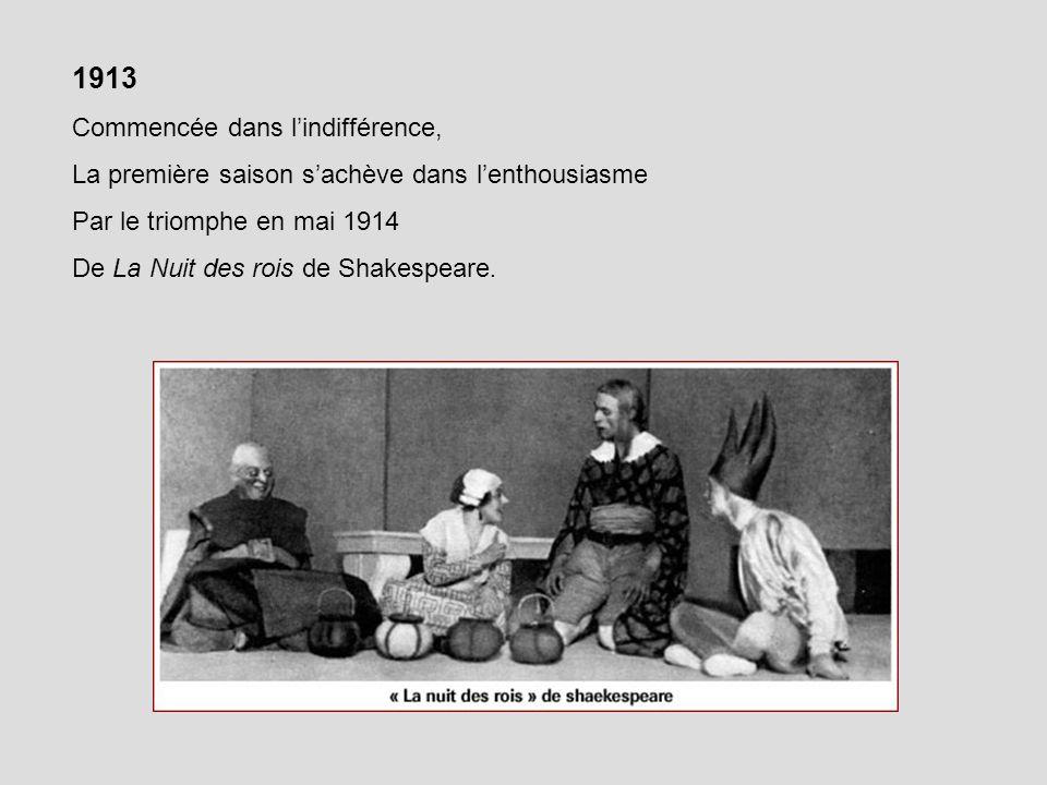 Copeau Jouvet, régisseur général et comédien et une partie de la troupe, dont Dullin sembarquent… 345 représentations en 283 jours .