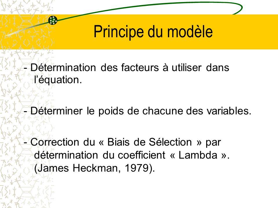 Principe du modèle - Détermination des facteurs à utiliser dans léquation. - Déterminer le poids de chacune des variables. - Correction du « Biais de