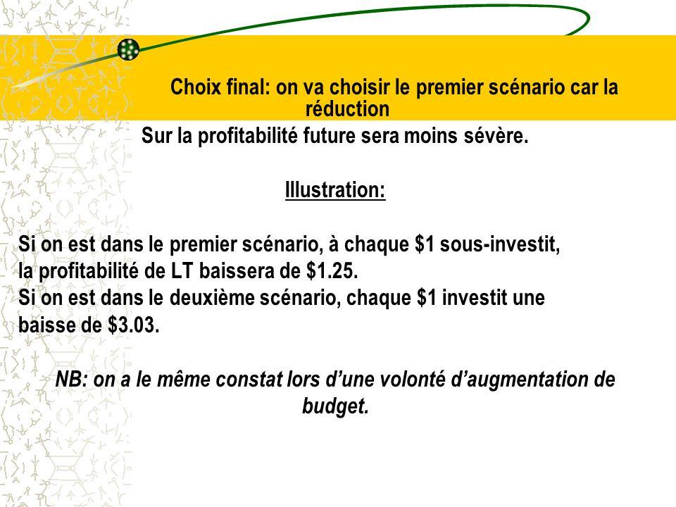 Choix final: on va choisir le premier scénario car la réduction Sur la profitabilité future sera moins sévère.