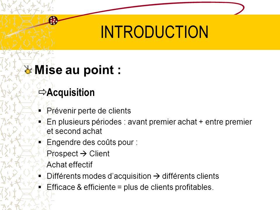 INTRODUCTION Mise au point : Acquisition Prévenir perte de clients En plusieurs périodes : avant premier achat + entre premier et second achat Engendr