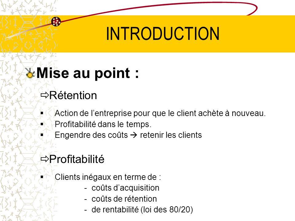 INTRODUCTION Mise au point : Rétention Action de lentreprise pour que le client achète à nouveau.