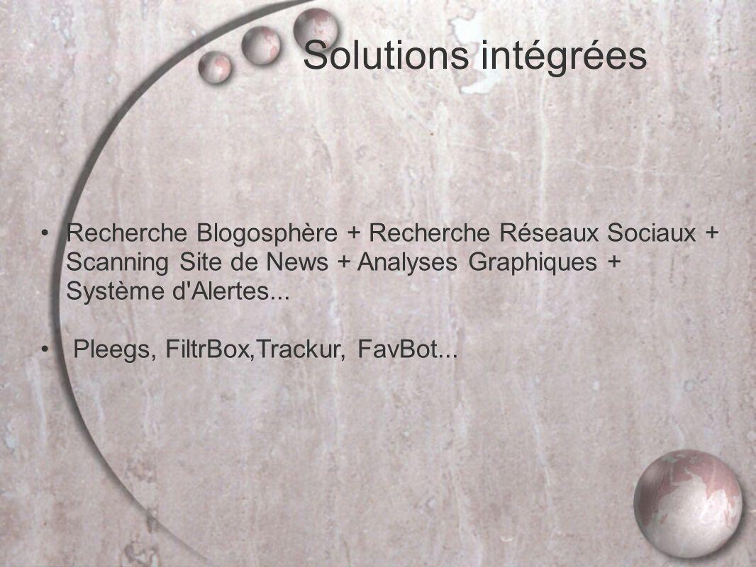 Solutions intégrées Recherche Blogosphère + Recherche Réseaux Sociaux + Scanning Site de News + Analyses Graphiques + Système d Alertes...