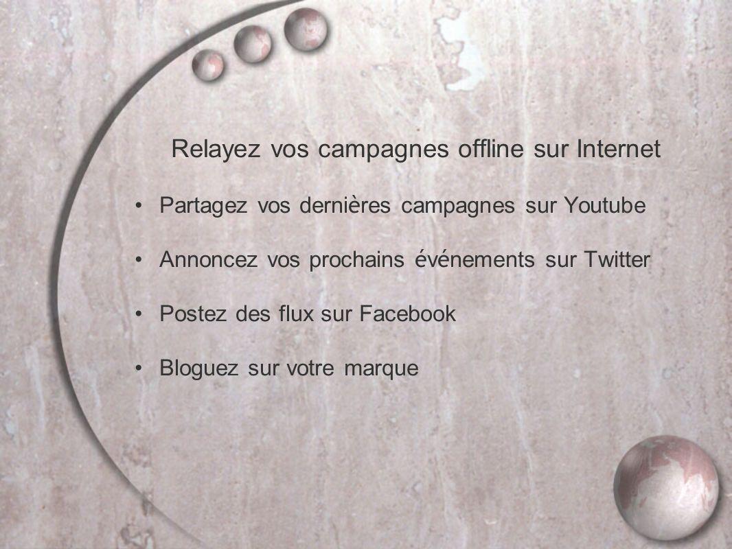 Relayez vos campagnes offline sur Internet Partagez vos derni è res campagnes sur Youtube Annoncez vos prochains é v é nements sur Twitter Postez des flux sur Facebook Bloguez sur votre marque