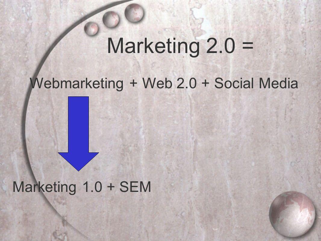 Marketing 1.0 + SEM Marketing 2.0 = Webmarketing + Web 2.0 + Social Media