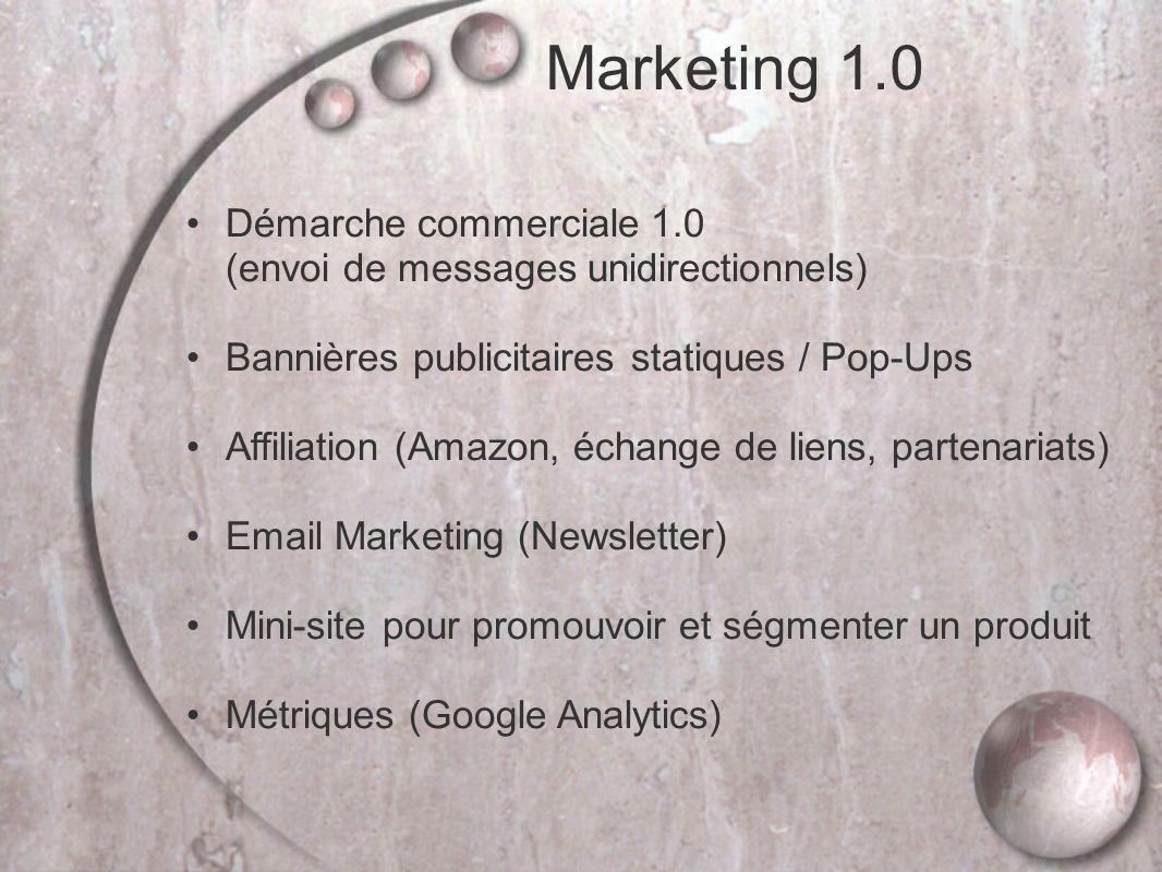 Démarche commerciale 1.0 (envoi de messages unidirectionnels) Bannières publicitaires statiques / Pop-Ups Affiliation (Amazon, échange de liens, partenariats) Email Marketing (Newsletter) Mini-site pour promouvoir et ségmenter un produit Métriques (Google Analytics) Marketing 1.0