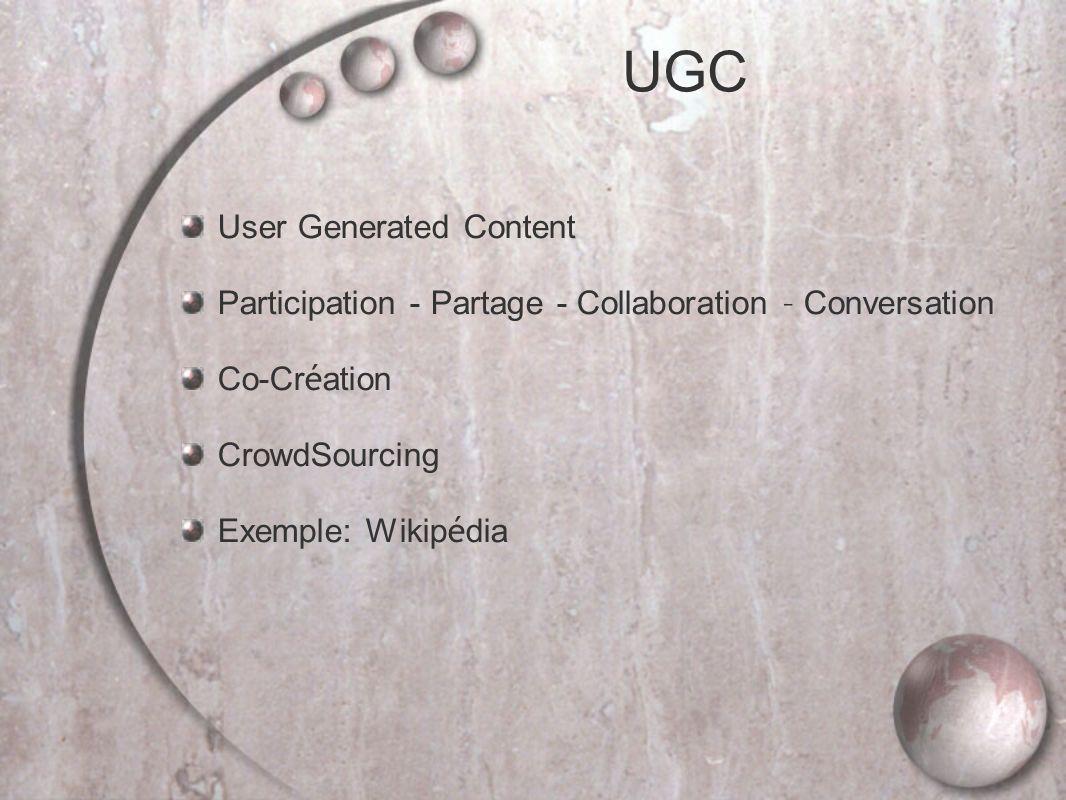 UGC User Generated Content Participation - Partage - Collaboration – Conversation Co-Cr é ation CrowdSourcing Exemple: Wikip é dia