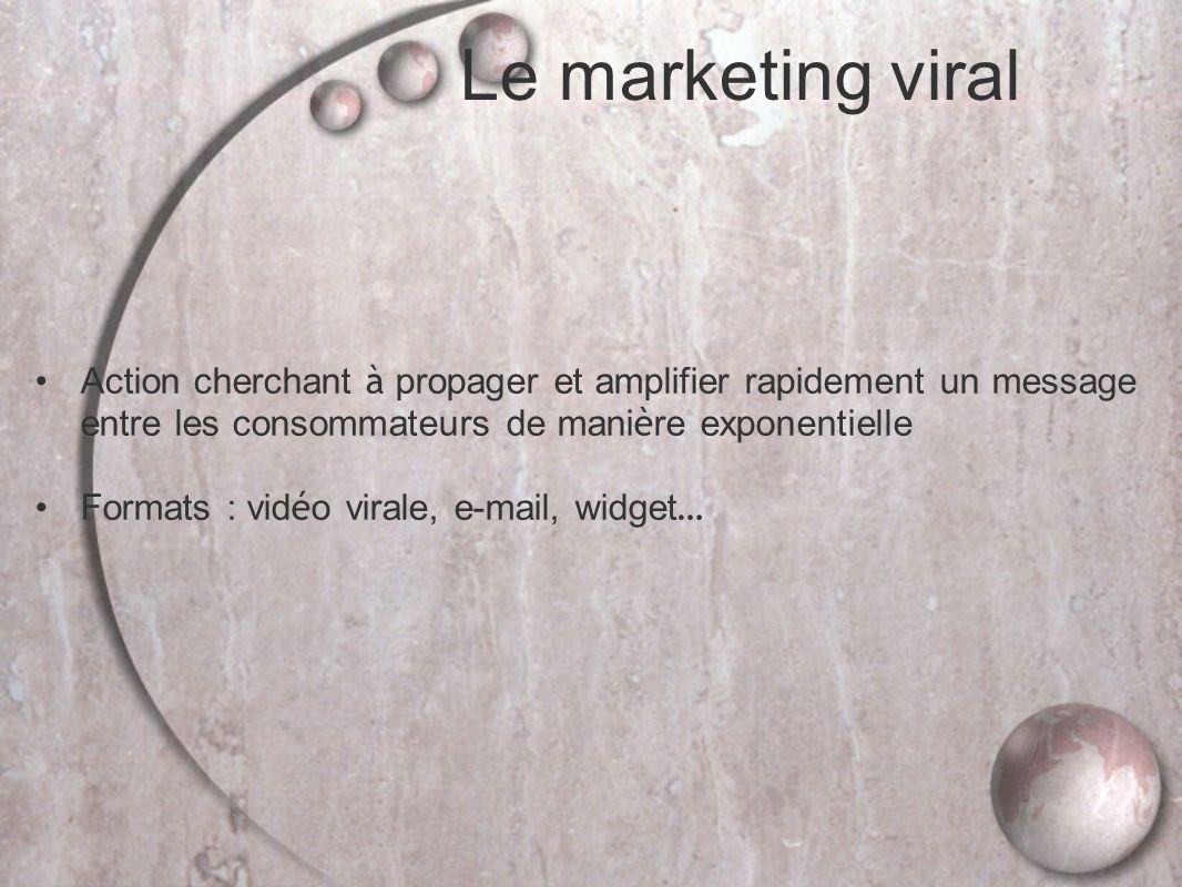 Le marketing viral Action cherchant à propager et amplifier rapidement un message entre les consommateurs de mani è re exponentielle Formats : vid é o virale, e-mail, widget …