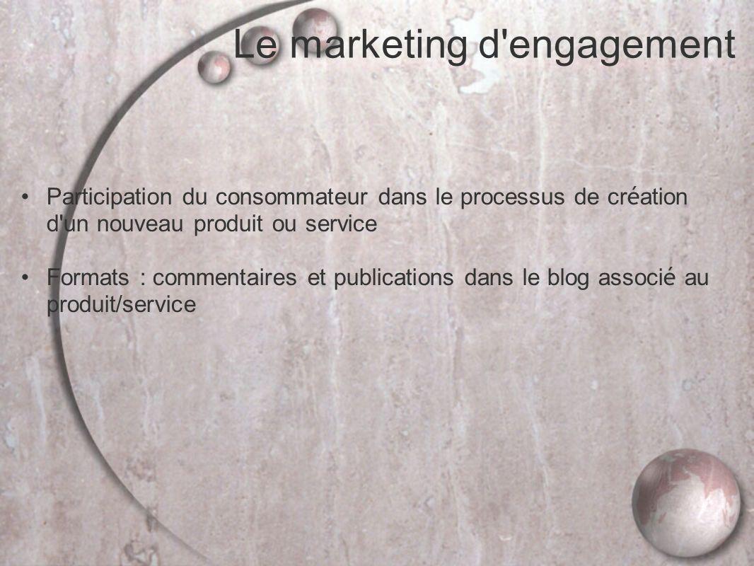 Le marketing d engagement Participation du consommateur dans le processus de cr é ation d un nouveau produit ou service Formats : commentaires et publications dans le blog associ é au produit/service
