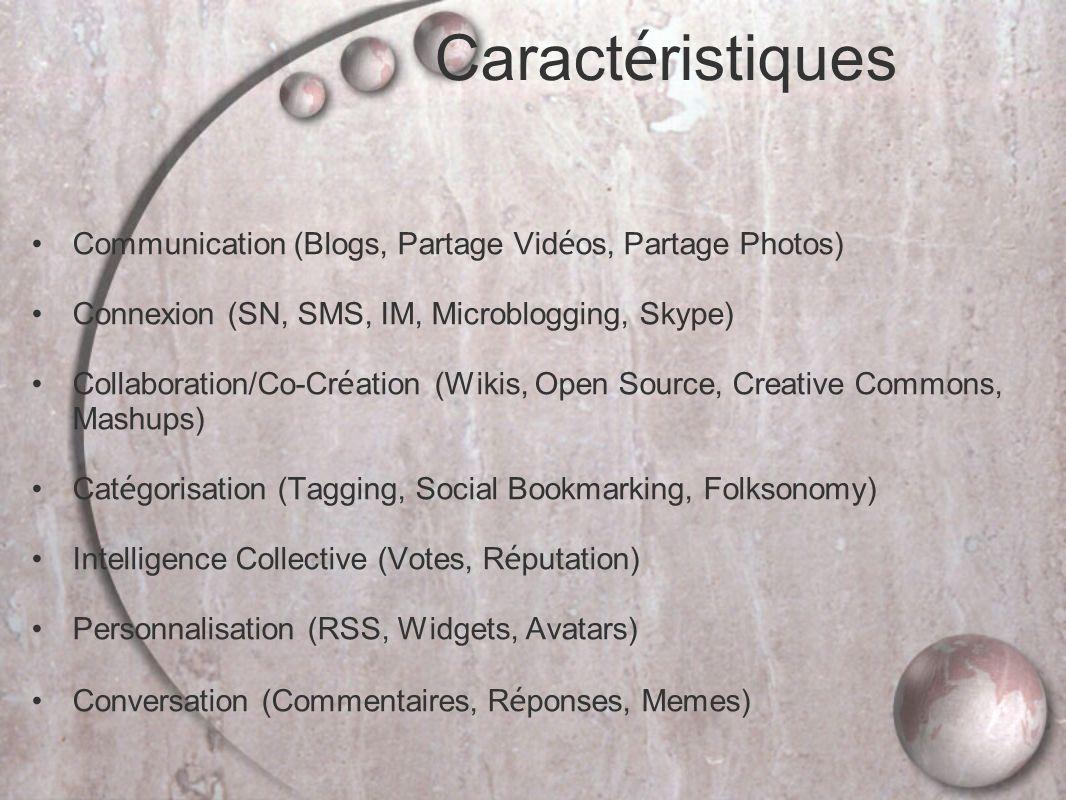 Communication (Blogs, Partage Vid é os, Partage Photos) Connexion (SN, SMS, IM, Microblogging, Skype) Collaboration/Co-Cr é ation (Wikis, Open Source, Creative Commons, Mashups) Cat é gorisation (Tagging, Social Bookmarking, Folksonomy) Intelligence Collective (Votes, R é putation) Personnalisation (RSS, Widgets, Avatars) Conversation (Commentaires, R é ponses, Memes) Caract é ristiques