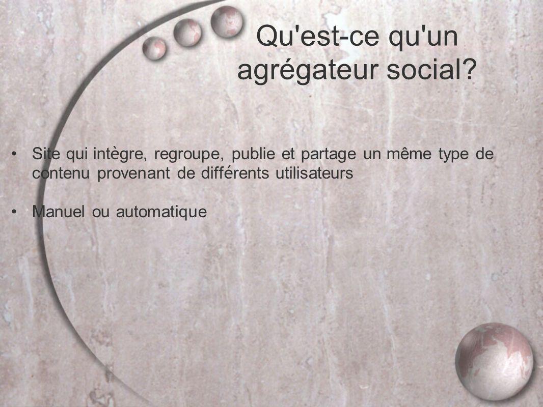 Site qui int è gre, regroupe, publie et partage un même type de contenu provenant de diff é rents utilisateurs Manuel ou automatique Qu est-ce qu un agrégateur social?