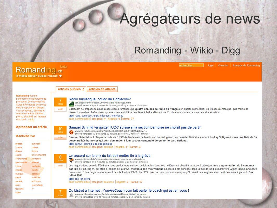 Agrégateurs de news Romanding - Wikio - Digg