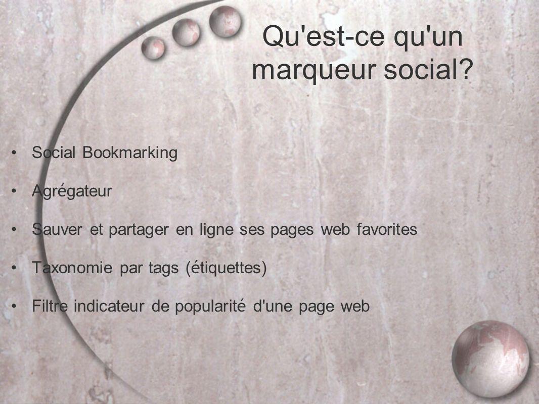 Social Bookmarking Agr é gateur Sauver et partager en ligne ses pages web favorites Taxonomie par tags ( é tiquettes) Filtre indicateur de popularit é d une page web Qu est-ce qu un marqueur social?