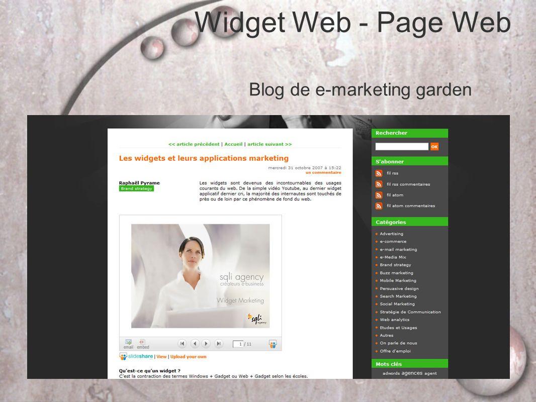 Widget Web - Page Web Blog de e-marketing garden