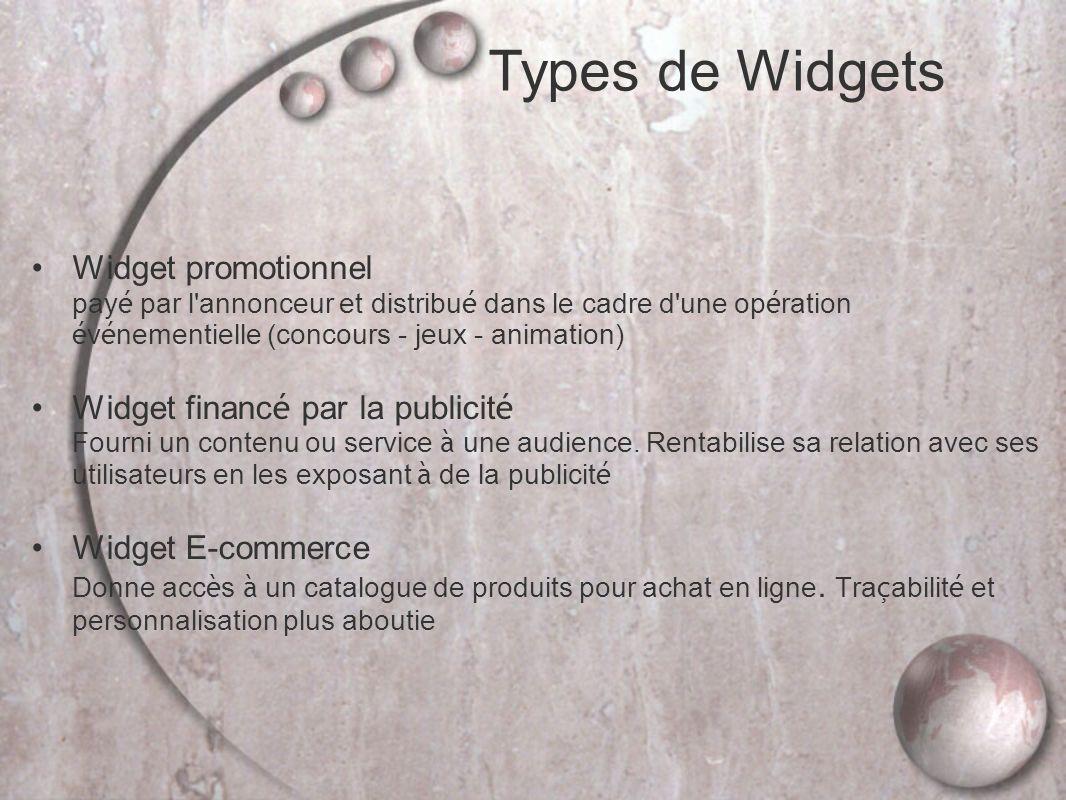 Widget promotionnel pay é par l annonceur et distribu é dans le cadre d une op é ration é v é nementielle (concours - jeux - animation) Widget financ é par la publicit é Fourni un contenu ou service à une audience.