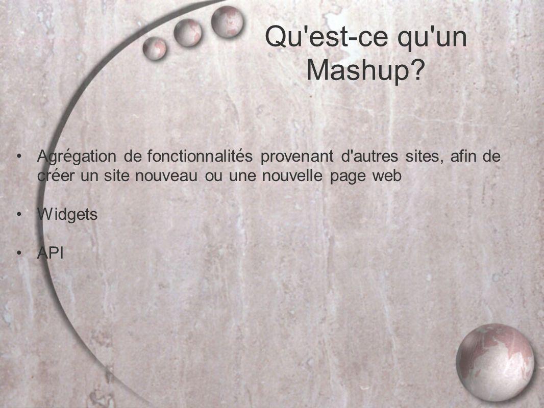 Agr é gation de fonctionnalit é s provenant d autres sites, afin de cr é er un site nouveau ou une nouvelle page web Widgets API Qu est-ce qu un Mashup?