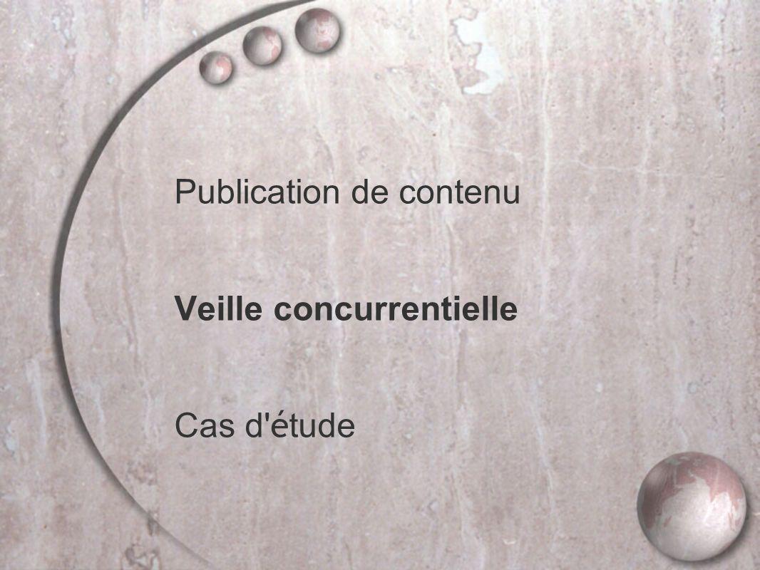 Publication de contenu Veille concurrentielle Cas d é tude