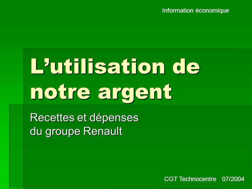 Information économique Lutilisation de notre argent Recettes et dépenses du groupe Renault CGT Technocentre 07/2004