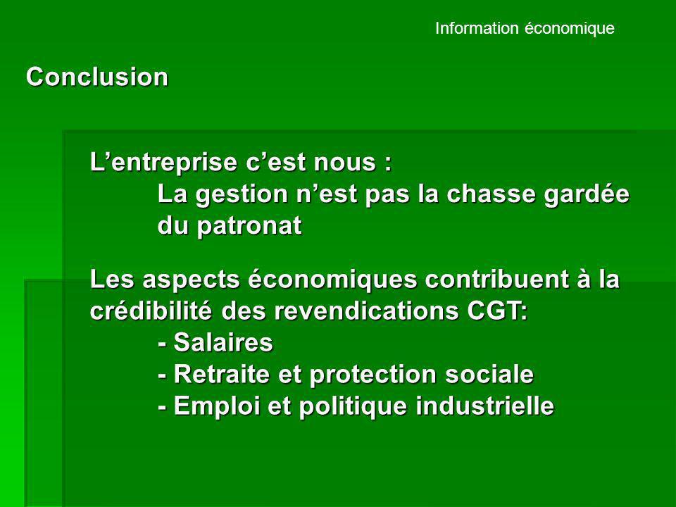 Information économique Conclusion Lentreprise cest nous : La gestion nest pas la chasse gardée du patronat Les aspects économiques contribuent à la cr