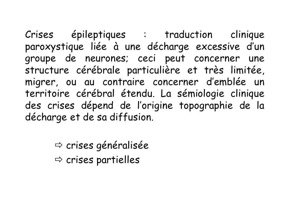 Crises généralisées Exemple 1 : crises tonico-clonique, se déroulent en 3 phases : phase tonique: La conscience est demblée abolie, il y a une contracture de lensemble de la musculature et des troubles végétatifs, éventuellement une morsure de langue.