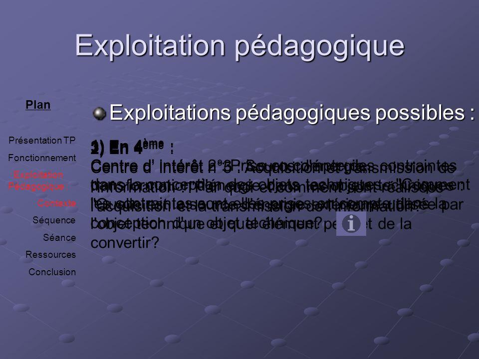 Exploitation pédagogique Exploitations pédagogiques possibles : Plan Présentation TP Fonctionnement Exploitation Pédagogique : Contexte Séquence Séanc