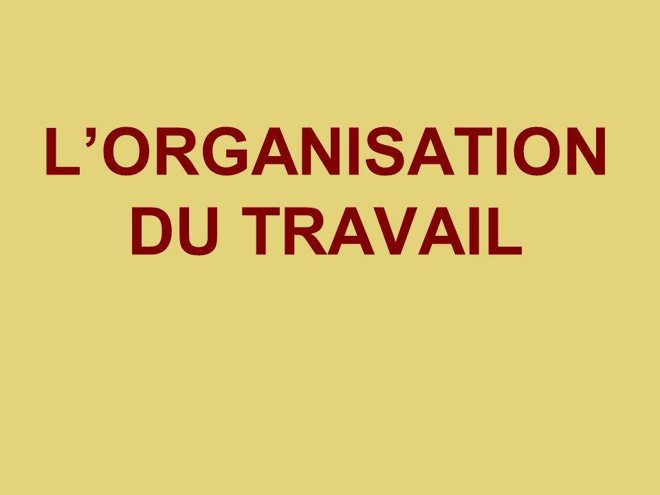 LORGANISATION DU TRAVAIL