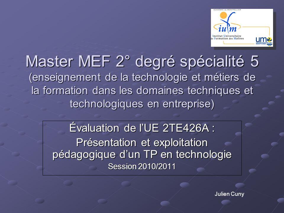 Master MEF 2° degré spécialité 5 (enseignement de la technologie et métiers de la formation dans les domaines techniques et technologiques en entrepri