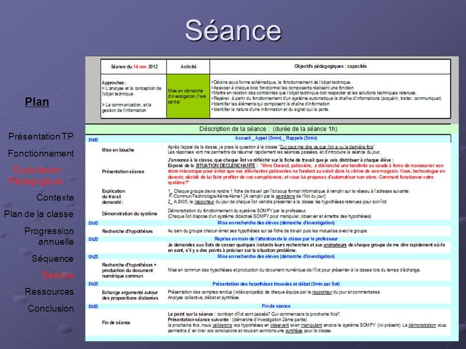 Séance Plan Présentation TP Fonctionnement Exploitation Pédagogique : Contexte Plan de la classe Progression annuelle Séquence Séance Ressources Concl