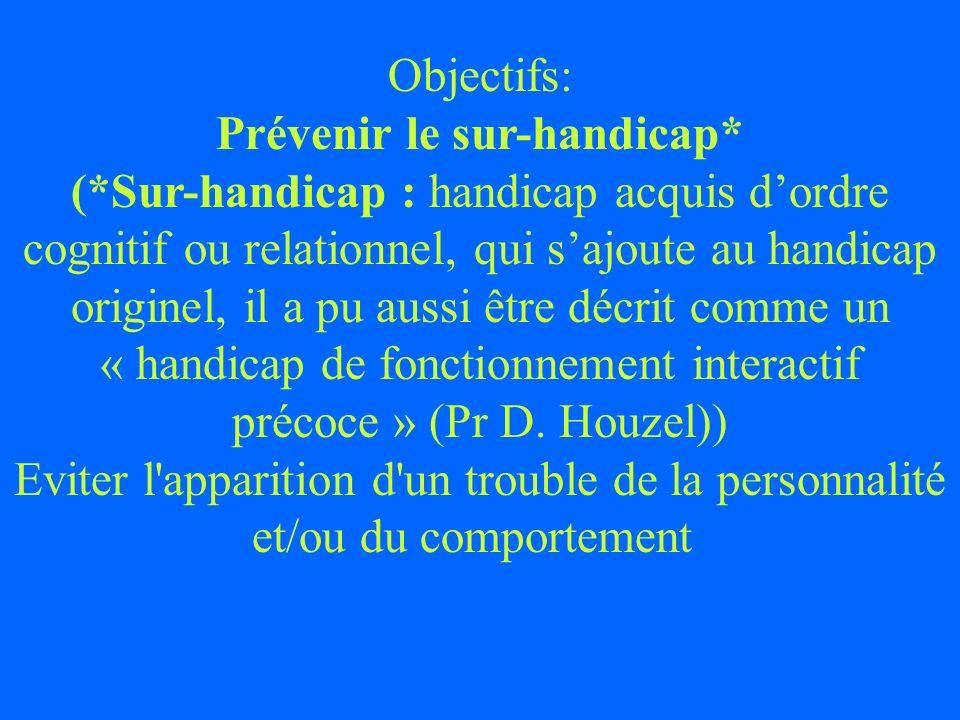 Objectifs: Prévenir le sur-handicap* (*Sur-handicap : handicap acquis dordre cognitif ou relationnel, qui sajoute au handicap originel, il a pu aussi
