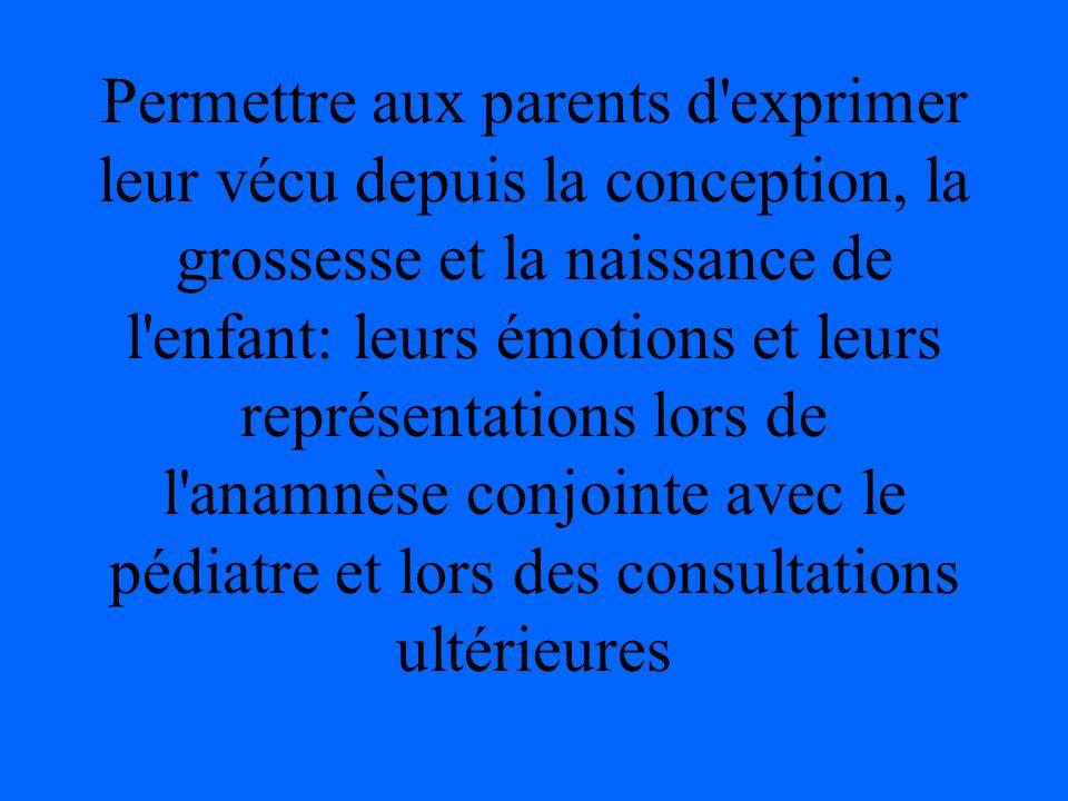 Permettre aux parents d'exprimer leur vécu depuis la conception, la grossesse et la naissance de l'enfant: leurs émotions et leurs représentations lor